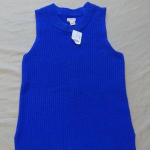 NWT J. Crew XXS Sweater Tank Blue Knit Sleeveless